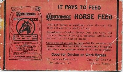 ink blotter original vintage Wirthmore Horse Feed