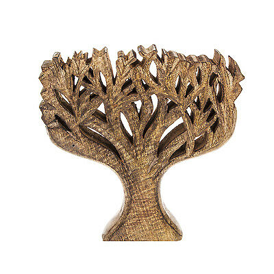 Carved Tree Brown Chunky Wooden Ornament Statue Sculpture