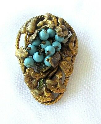 Vtg Art Nouveau Dress Pin Clip Blue Wired Beads Unmarked Marian Haskell?