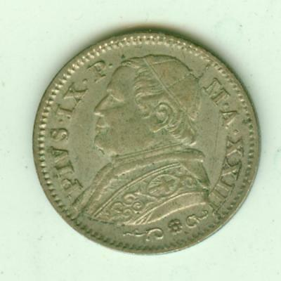Papal States Silver 1868 10 Soldi-Lot F1