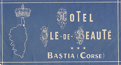 Hotel Ile-de-Beauté BASTIA Corse France Vintage Luggage Label