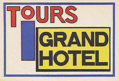 Grand Hotel TOURS France Vintage Luggage Label