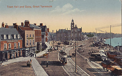 Town Hall & Quay GREAT YARMOUTH Norfolk England UK 1907-15 Valentine Postcard
