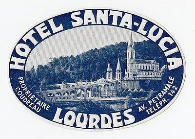 Hotel Santa Lucia LOURDES France Original Vintage Embossed Luggage Label