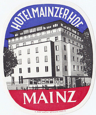 Hotel Mainzer Hof MAINZ Germany Luggage Label