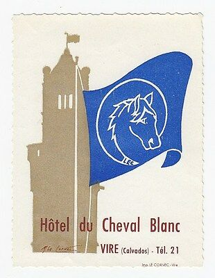 Hôtel du Cheval Blanc VIRE Calvados France artist signed Vintage Luggage Label