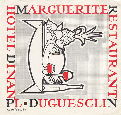 Restaurant Hotel Marguerite Place Duguesclin DINAN France 1930-50s Luggage Label
