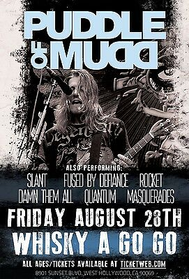 PUDDLE OF MUDD 2015 HOLLYWOOD CONCERT TOUR POSTER - Post-grunge, Hard Rock Music