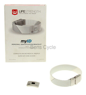 Life Strength myID Personal ID Bracelet Medical Bracelet White ION NEW in Box