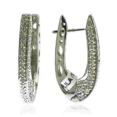 Pave Diamond 18k Solid White Gold Horseshoe Hoop Earrings Fine Jewelry