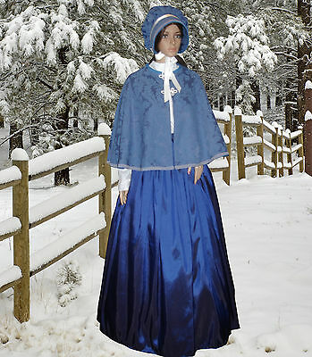 Ladies Victorian Dickensian Carol Singer 3pc costume dusky blue size 14-18