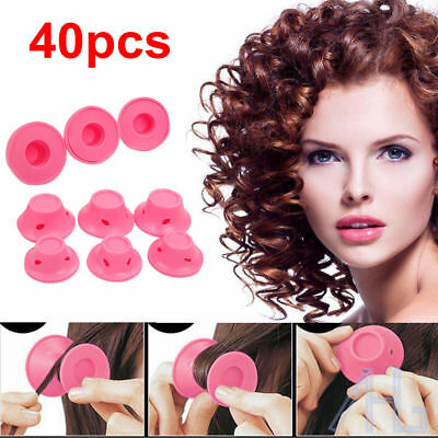 40Pcs Silicone No Heat Hair Curlers Magic Soft Rollers Hair Care DIY Tool Set UK