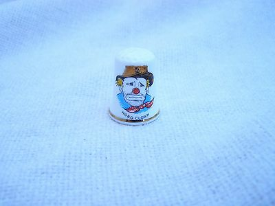 HOBO CIRCUS CLOWN PICTURE FACE on FINE BONE CHINA THIMBLE by BIRCHCROFT