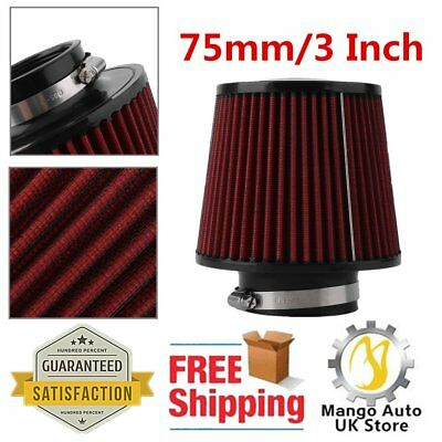Universal Red Finish Car Air Filter Induction Kit High Power Sports Mesh Cone Uk