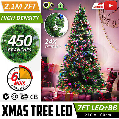 Premium 2.1m 7Ft 210cm Fibre Optic LED Green Christmas Xmas Tree MULTI COLOUR