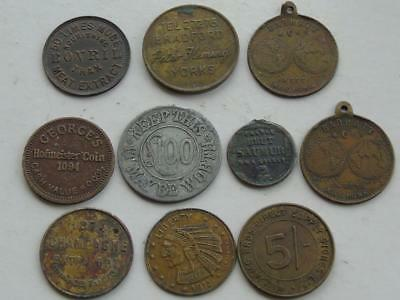 Collection of 10 Vintage Antique Tokens Advertising Royalty Champagne etc