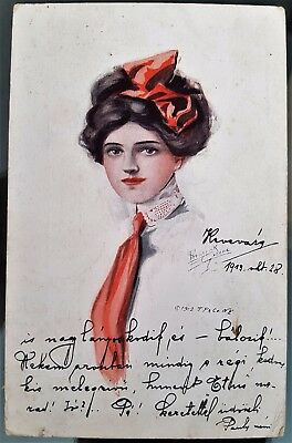 Hungary 1923 Young Lady Colour Postcard Cover