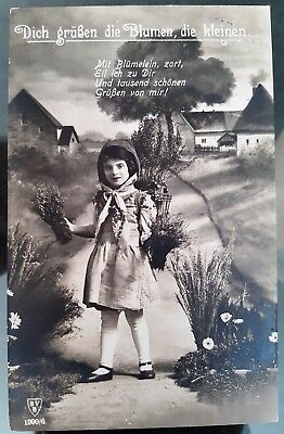 Germany 1918 Young Girl The Flowers You Dug Black White Photograph Postcard