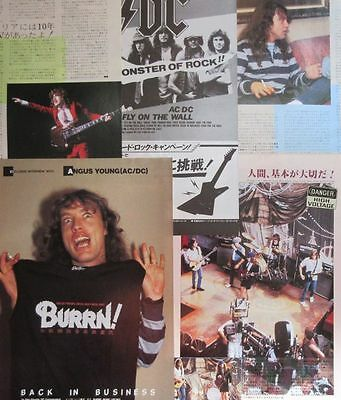 AC/DC ANGUS YOUNG 1985 CLIPPING form 2 BURRN! JAPAN MAGAZINE VM 6PAGE
