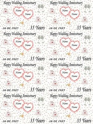 Personalised Coral 35th Wedding Anniversary Gift Wrapping Paper Add