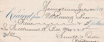 1884  Youngstown, Ohio     Receipt