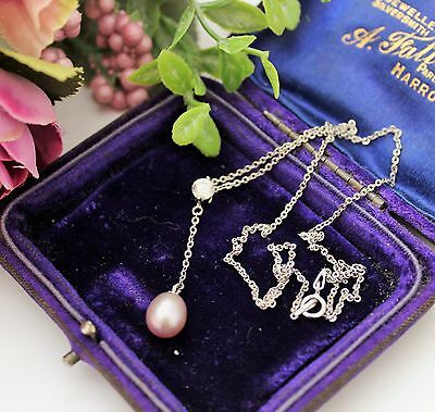 Sterling Silver Cultured Pearl With Small Faceted Crystal Necklace / Pendant