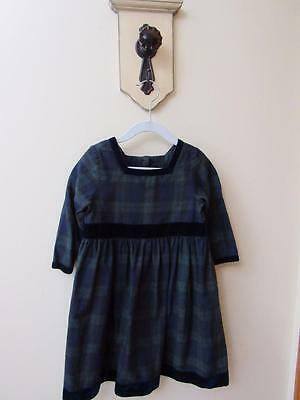 Vintage LAURA ASHLEY Little Girls DRESS Navy/Green TARTAN Plaid Velvet Trim A