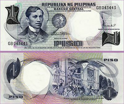 PHILIPPINES 1 PISO 1969 UNC BANKNOTE P.142 b SIGN 8