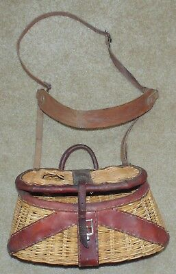 FISHING CREEL - Basket with leather trim - Worn Leather Harness - number 3