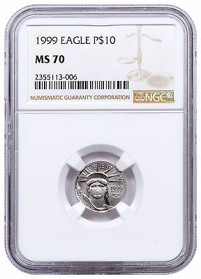 1999 1/10 oz Platinum American Eagle $10 NGC MS70 SKU23443