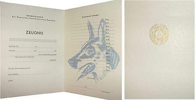 3x DDR Urkunde NVA Grenztruppen 1x Hundeführer border guard dog leader document