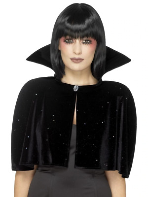 Evil Queen Cape Black Adult Womens Ladies Halloween Fancy Dress