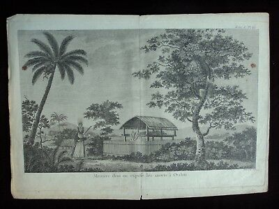 MANIERE DONT ON EXPOSE LES MORTS A OTAHITI 1774 old book engraving James Cook