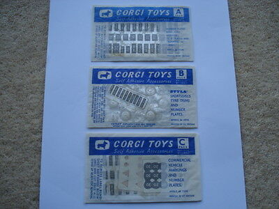 C1960S Unused/sealed Corgi Toys Self-Adhesive Accessories Packs A, B & C