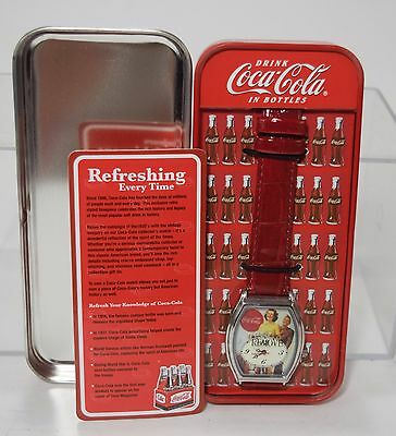 Vintage Coca Cola Collectible Watch In Refrigerator Tin Red Band Croco Embossed