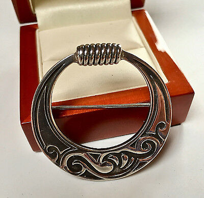 Beautiful Ola Gorie, Orkney Sterling Silver Scottish/celtic Brooch/pin (1990)