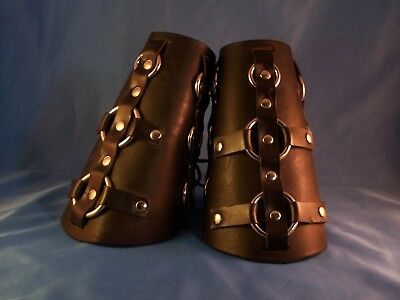 Medieval Black Leather Steel Ring Bracers