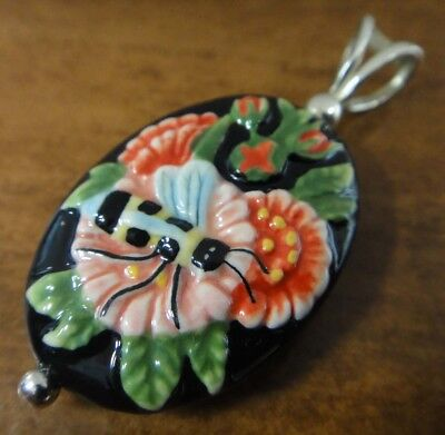 Bumble bee on flowers Porcelain + sterling silver handmade pendant for necklace