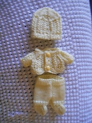 "Doll Clothes Hand-knit Lemon-Yellow 3 pc Set Fits 8"" Dolls"