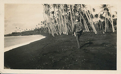 WWII 1940s Hawaii Photo man walking on Black Sand Beach on Big Island
