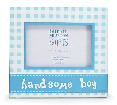 Handsome Boy Blue Plaid Wooden Picture Frame