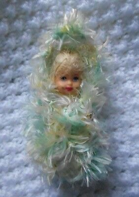 "Doll Clothes Hand-knit Pastel Baby Cocoon Fits 3"" Krissy or 2.5"" Kewpie piano"