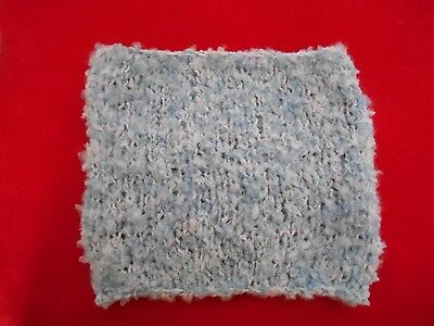 """Mini Hand knitted Blanket-rug 7 in x 6""""  old blue boucle for small dolls"""