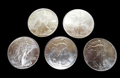 1991  1992  1993  1994  1995  Lot Of (5) Uncirculated Silver American Eagles