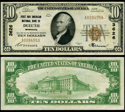 Duluth MN $10 1929 Ty 1 National Bank Note Ch #3626 First + American NB XF+