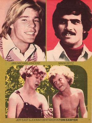 Jeff East Johnny Whitaker Mark Spitz teen magazine pinup clipping Shirtless Bop