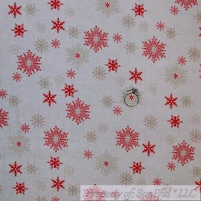 BonEful Fabric FQ Cotton Quilt Cream Tan Red VTG Country Xmas Snow*Flake Small S