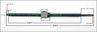 "Linear Actuator Ball Bearing 5/8""-5 Screw 15/16""-16 Threaded Nut CNC 3D Printer"