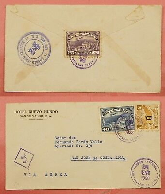 1938 El Salvador Multi Franked Airmail Cover To Costa Rica