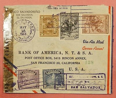 1944 El Salvador Wwii Censored Registered Airmail Cover To Usa